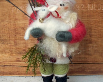 "Santa and Lamb 7"" Wool Wrapped and Needle Felted Ornament"