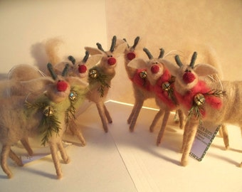 Reindeer Wool Wrapped/Needle Felted Ornament