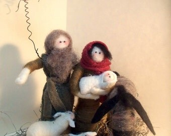 Nativity 6-Piece Wool Wrapped/Needle Felted Sculpture