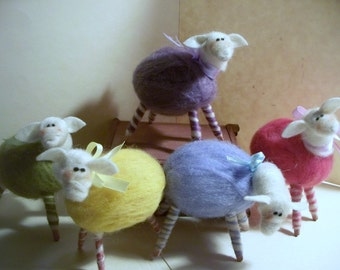 Easter Egg Sheep Felted Wool Ornament/Figurine - NEW FOR 2012