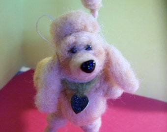 Apricot Poodle Felted Dog Ornament/Figurine