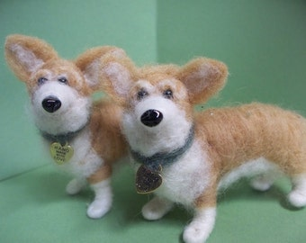 Welsh Corgi Felted Wool Dog Ornament/Sculpture