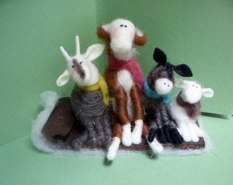 Barnyard Buddies Felted Goat, Cow, Donkey and Lamb on Wooden Toboggan Ornament/Figurine