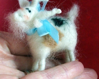 Miniature Goat Needle Felted Wool Ornament