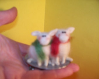 Wool Lamb on Saucer Sled Ornament