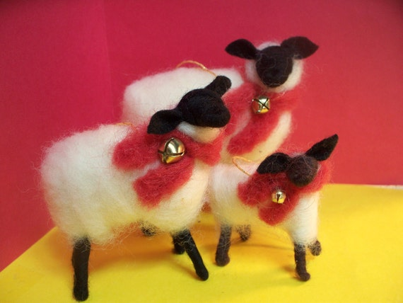 Sheep Family Wool Wrapped/Needle Felted with Christmas Wool Scarfs