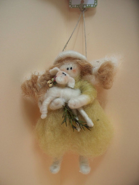 Guardian Angel Wool Wrapped/Needle Felted Ornament
