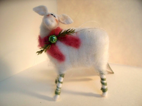 Candycane Sheep Wool Wrapped/Needle Felted Ornament