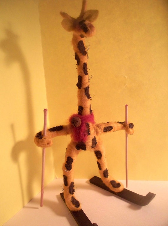 Giraffe on Skis Wool Wrapped and Felted Ornament