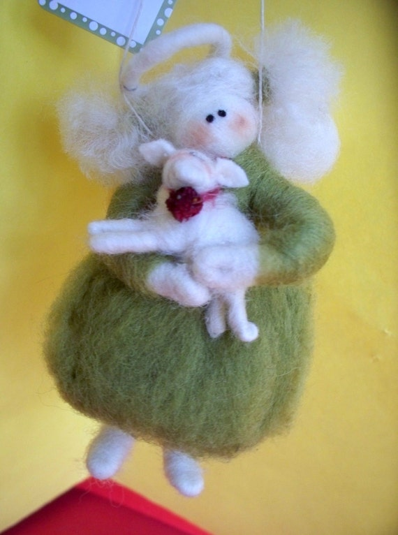 Guardian Angel with Lamb Felted Wool Ornament