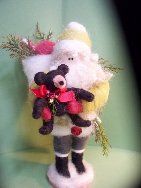 Santa and Theodore the Bear Felted Wool Santa - NEW for 2012