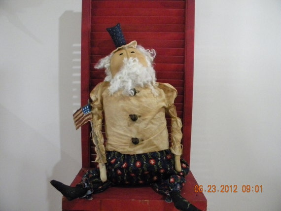 SALE Primitive Doll Americana Patrotic Uncle Sam 33 inchs OOAK OFG Team FTTeam Where Rustics Reign