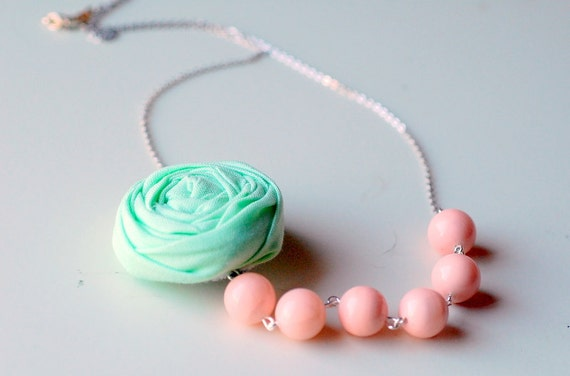 Mint and Soft Pink Sorbet, A Shabby Chic Rosette Bridesmaid Necklace, sale, Black Friday
