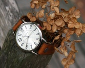 Hand-Crafted English Autumn Traditional Leather Watch in Tan