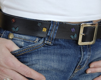 Bohemian Belly Leather Belt and Buckle