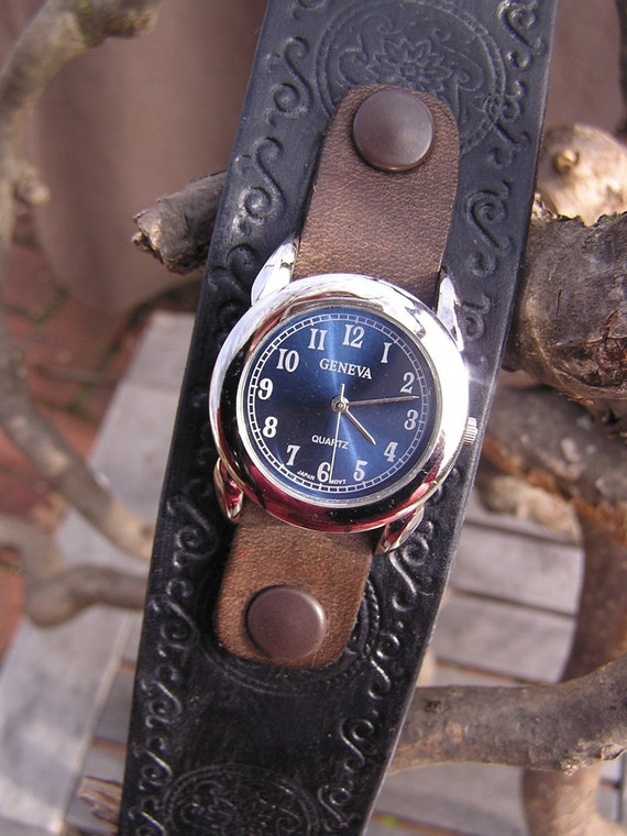 Leather Snap Watch / Watchband with Watchface