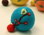 Wool coin purse --- Cherry blossoms and a little bird