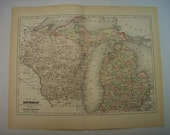1896 State Map of Michigan - Vintage Antique Map Great for Framing 100 Years Old