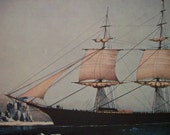 1952 Currier and Ives Clipper Ship Print - Red Jacket - Vintage Americana Folk Art Illustration