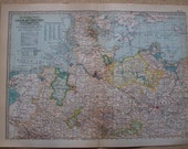 1911 Map Northern German Empire - Vintage Antique Map Great for Framing 100 Years Old