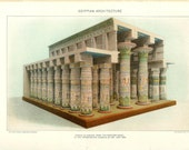 1903 Egyptian Architecture Print - Vintage Antique Art Print History Geography Great for Framing 100 Years Old
