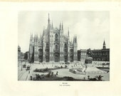 1903 Architecture Photograph - Milan Cathedral Italy - Vintage Antique Art Print History Geography Great for Framing 100 Years Old