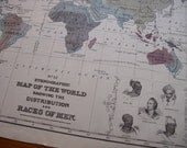1867 Mitchell's World Map - Distribution of Races of Man - Vintage Antique Map Great for Framing 100 Years Old
