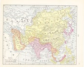 1900 Map Asia - Vintage Antique Map Great for Framing 100 Years Old