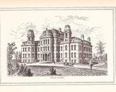 1881 Architectural Print - Syracuse University - Antique Art Illustration 100 Years Old