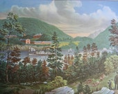 1952 Currier and Ives US Military Academy at West Point Print - Vintage Americana Folk Art Illustration