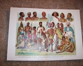 1905 African Peoples Print - Vintage Antique Art Illustration Book Plate Great for Framing 100 Years Old