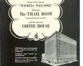 1950s Hotel Advertisement - Lassen Wichita Kansas - Vintage Antique Retro 50s Era Pop Art Ad for Framing 50 Years Old