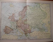 1907 Map Europe - Vintage Antique Map Great for Framing 100 Years Old
