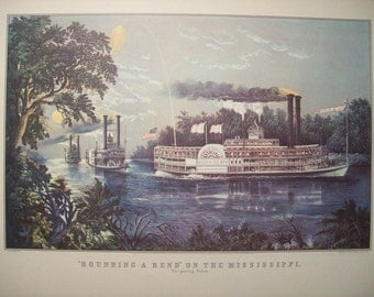 1952 Currier and Ives Mississippi River Steamboat Print - Vintage Americana Folk Art Illustration