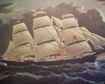 1952 Currier and Ives Clipper Ship Print - Vintage Americana Folk Art Illustration