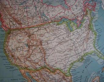 1911 Map North America - Vintage Antique Map Great for Framing 100 Years Old