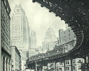 1940s Vintage Photograph  - New York City Elevated Train - Third Avenue El - Wonderful 40s Vintage Art Photograph Print for Cottage or Cabin