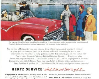 1950s Advertisement - Hertz Rent-A-Car - Vintage Antique Retro 50s Era Pop Art Ad for Framing 50 Years Old