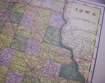 CLEARANCE SALE was 18 Bucks - 1896 State Map Iowa - Vintage Antique Map Great for Framing 100 Years Old