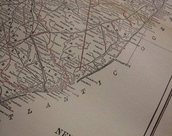 CLEARANCE SALE was 18 Bucks - 1896 State Map New Jersey - Vintage Antique Map Great for Framing 100 Years Old