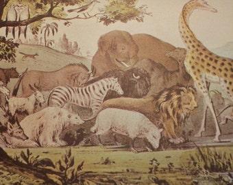 1952 Currier and Ives Adam Naming Animals Print - Vintage Americana Folk Art Illustration