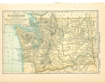 1891 State Map Washington / Wyoming - Vintage Antique Map Great for Framing 100 Years Old