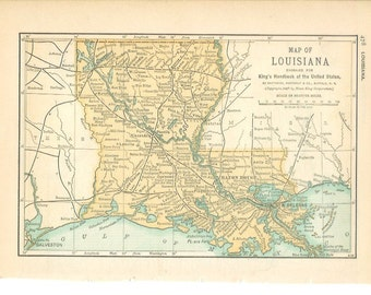 1891 State Map Louisiana - Vintage Antique Map Great for Framing 100 Years Old