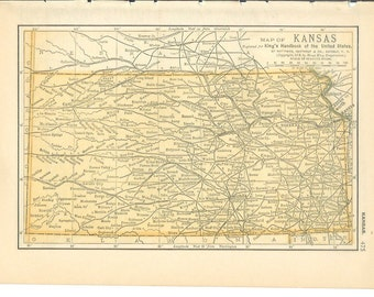 1893 State Map Kansas - Vintage Antique Map Great for Framing 100 Years Old