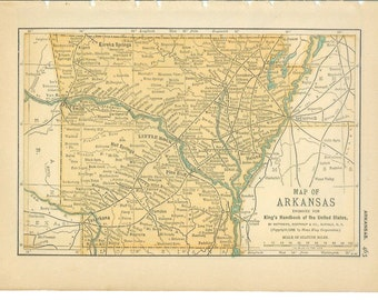1892 State Map Arkansas - Vintage Antique Map Great for Framing 100 Years Old