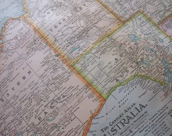 1911 Map Australia - Vintage Antique Map Great for Framing 100 Years Old