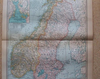 1911 Map Norway and Sweden - Vintage Antique Map Great for Framing 100 Years Old