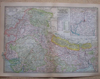 1911 Map Northern India - Vintage Antique Map Great for Framing 100 Years Old