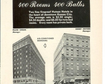 1950s Hotel Advertisement - State and Robert E. Lee Kansas City Missouri - Vintage Antique Retro 50s Era Pop Art Ad for Framing 50 Years Old