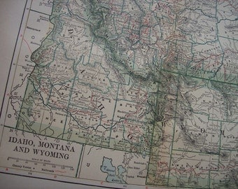1903 State Map Idaho, Montana and Wyoming - Vintage Antique Map Great for Framing 100 Years Old